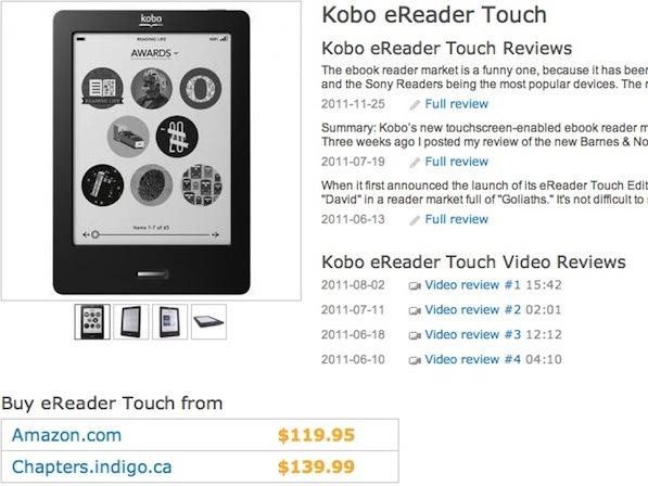 La fiche produit d'un Kobo eReader Touch