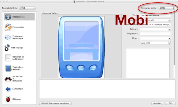 Conversion de format d'ebook : epub -> mobi