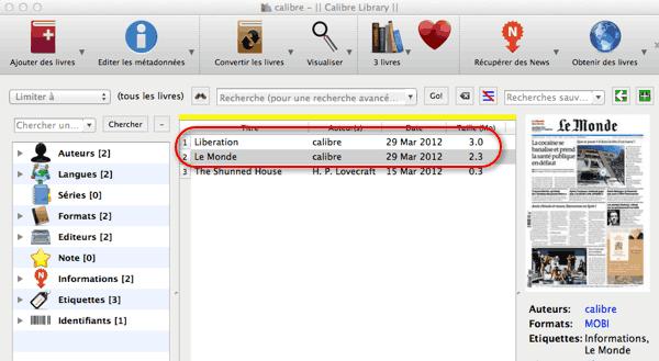 Nouveaux ebooks dans Calibre