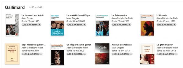 Gallimard sur l'ibook store (ipad)