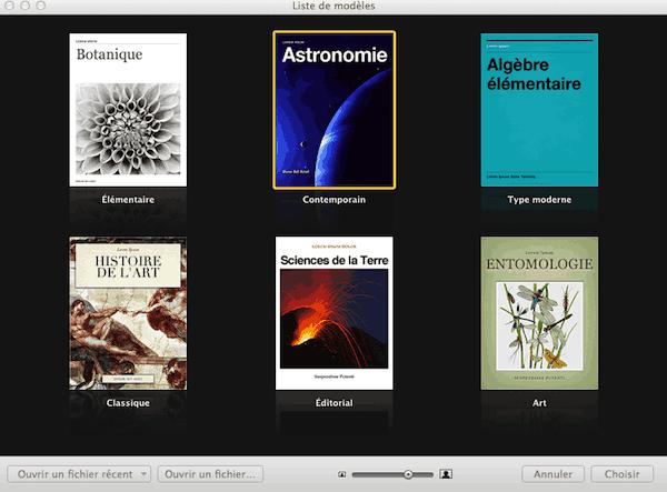 Sélection modèle iBook Author
