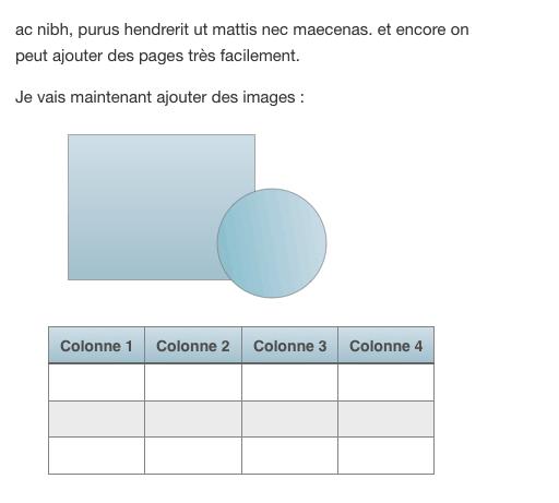 Un tableau et des figures géométriques dans iBook Author