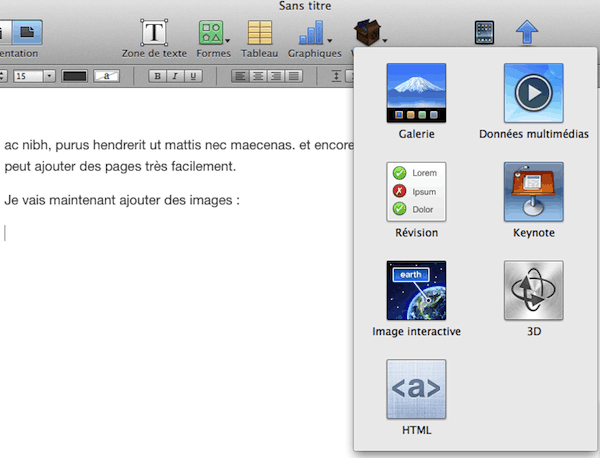 Insertion de widget dans iBook Author