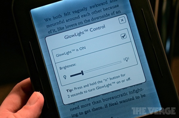 Le réglage de la luminosité sur le Nook Simple Touch Glowlight