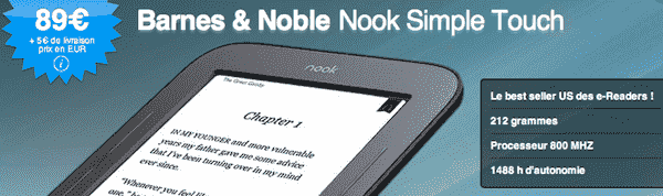 Le Nook Simple Touch à 89 euros
