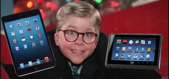 Enfant et le tactile de Noël