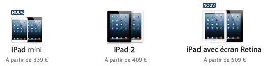 prix des ipad