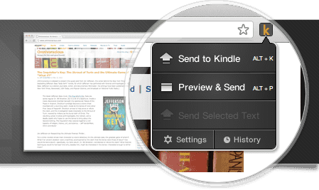 Send to kindle pour Chrome