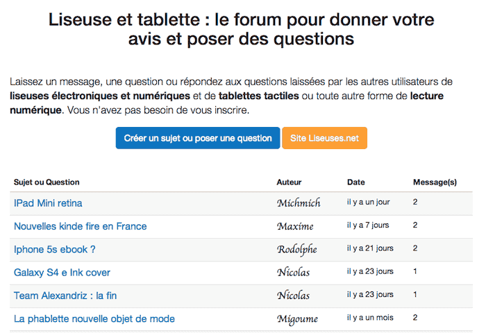 forum liseuse ebook