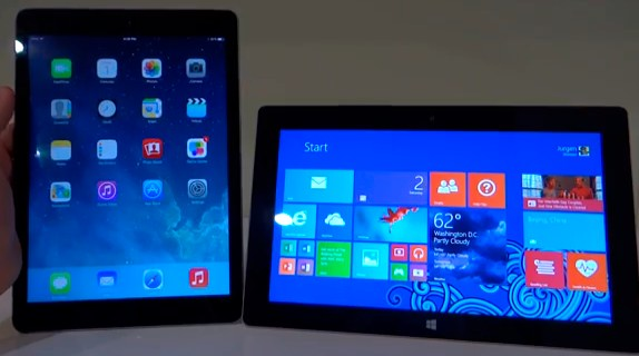 comparaison surface 2 ipad air