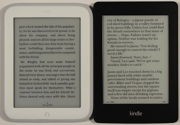 kindle paperwhite comparatif nook glowlight