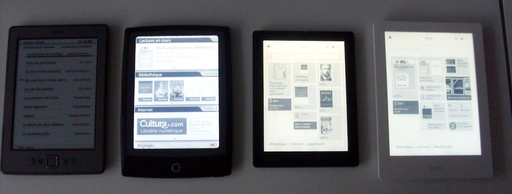Comparaison d'écrans de liseuses