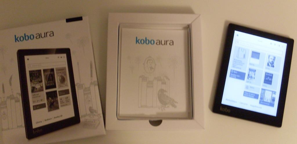 kobo aura packaging lumière