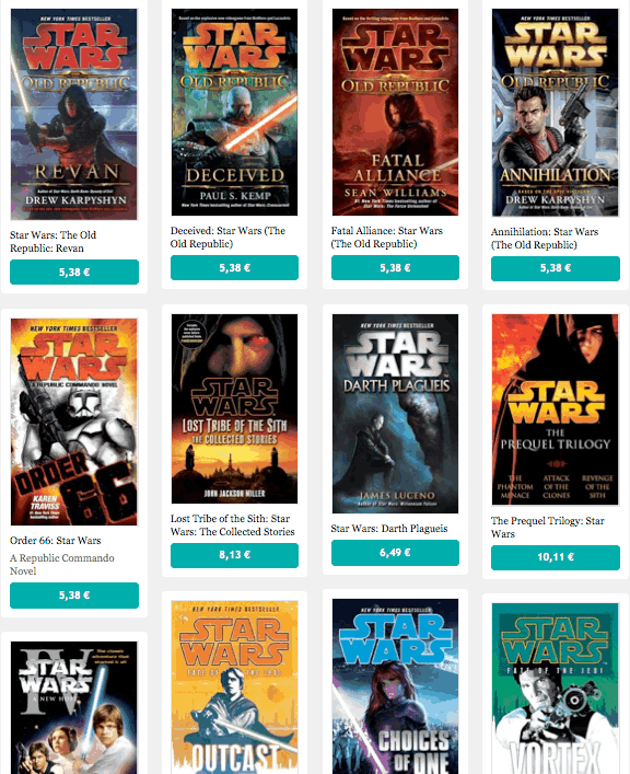 Les ebooks en anglais de Star Wars