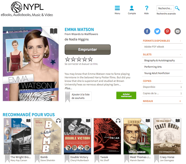Biographie de Emma Watson - New York