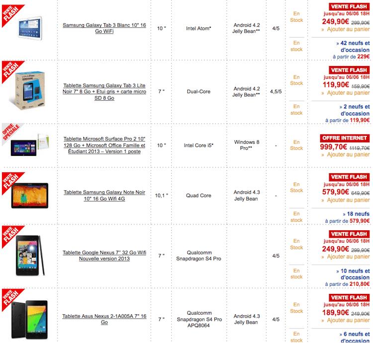 ventes flash tablettes tactiles