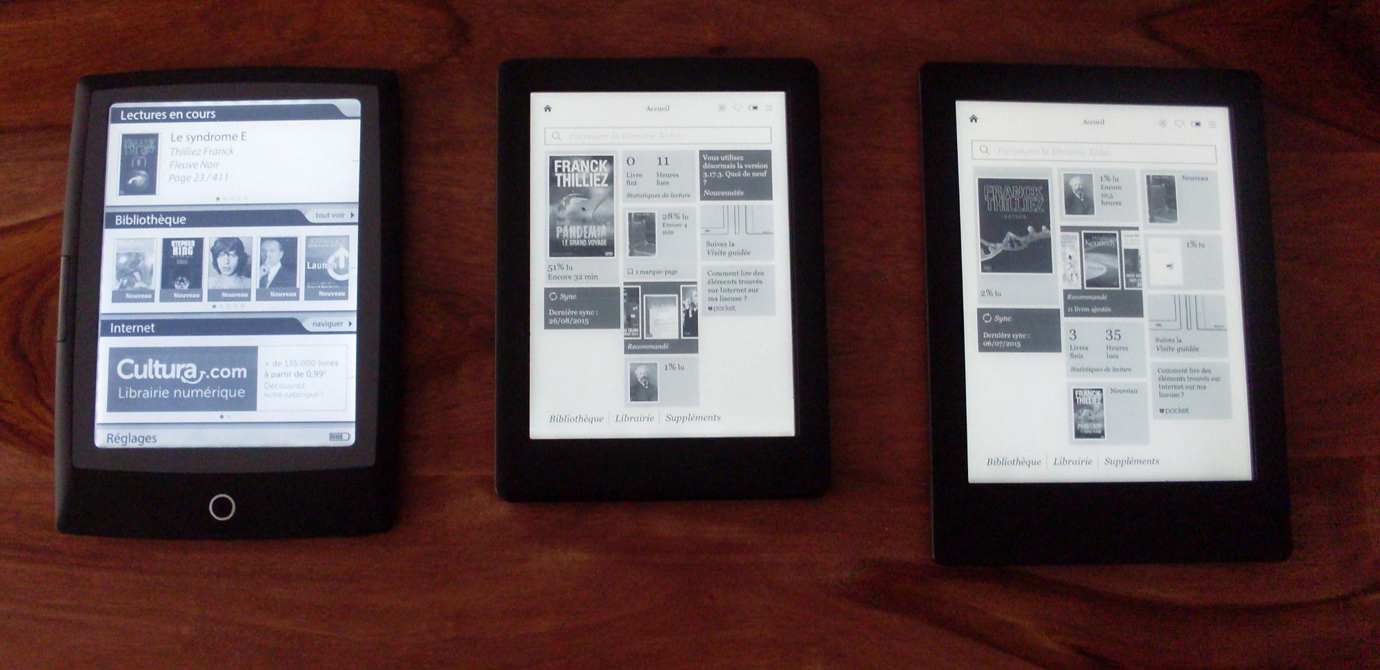 comparaison d'écrans de liseuse