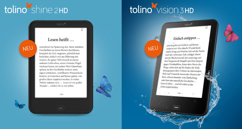 Tolino Shine 2D HD (à gauche) et Tolino Vision 3D HD (à droite)
