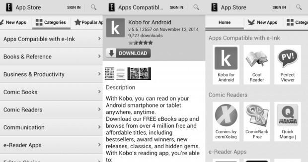 captures d'écran liseuse Android