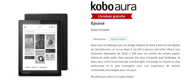 La Kobo Aura est épuisé sur le site officiel
