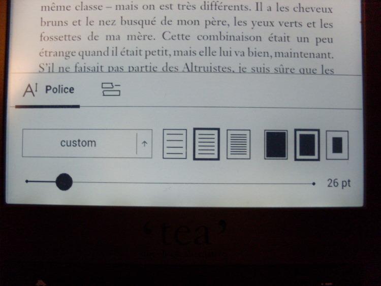 Liseuse Tea Touch Lux 3 : réglage texte