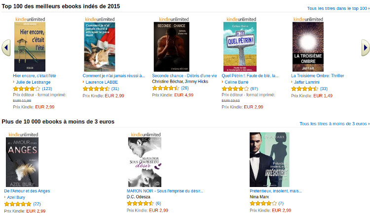 ebooks indépendants chez Amazon