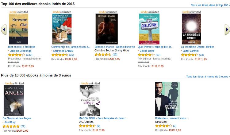 ebooks indépendants chez Amazon