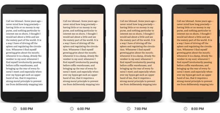 Option pour lire la nuit sur Google Play Books