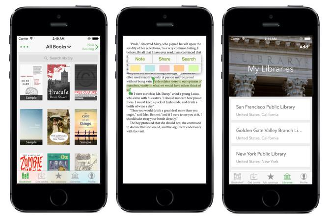 Application de lecture d'ebook Aldiko sur iPhone