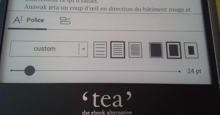 option de texte liseuse tea ultra