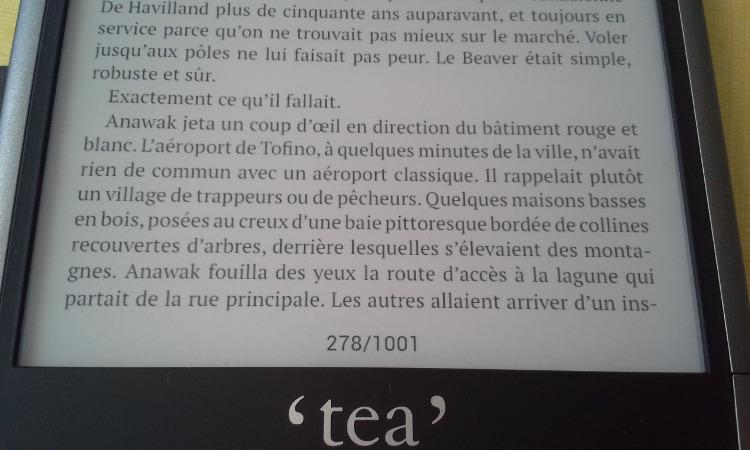 tea ultra texte sur écran