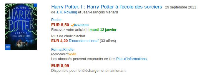 Prix Harry Potter ebook Amazon