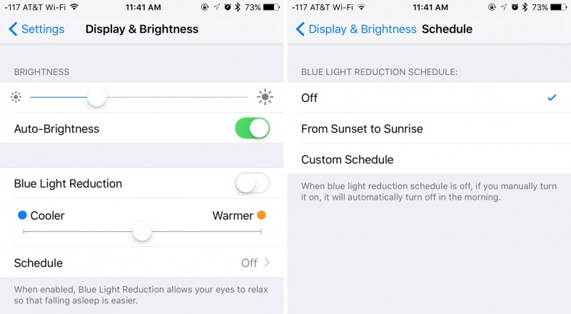 Night Shift Mode sur iOS Apple iPad, iPhone