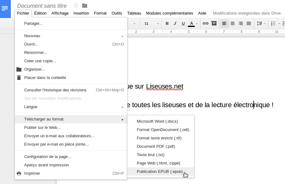 Export Epub google docs