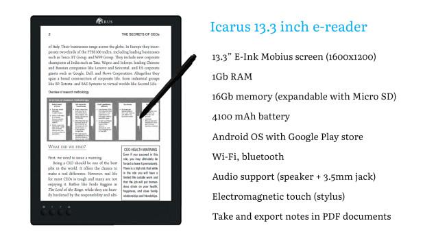 liseuse Icarus de 13 pouces avec Android et Google play