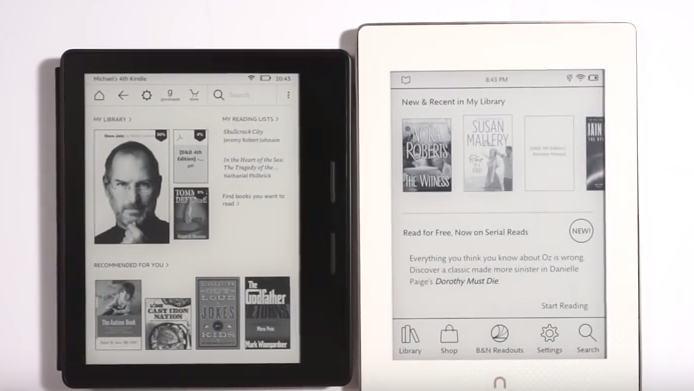 Kindle Oasis et Nook Glowlight Plus en vidéo