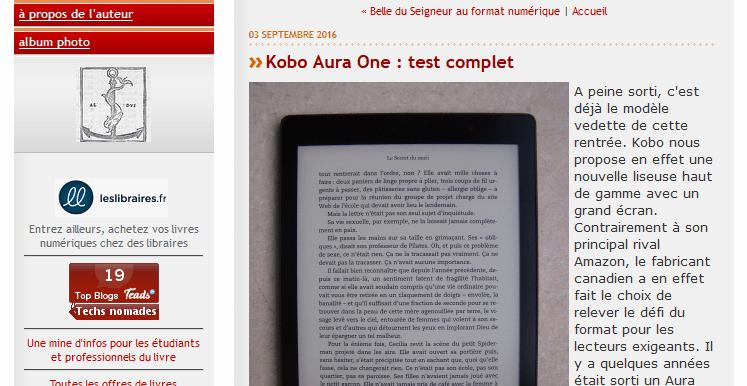 Test Kobo Aura One chez Aldus