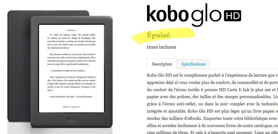 kobo glo hd épuisé kobo.com