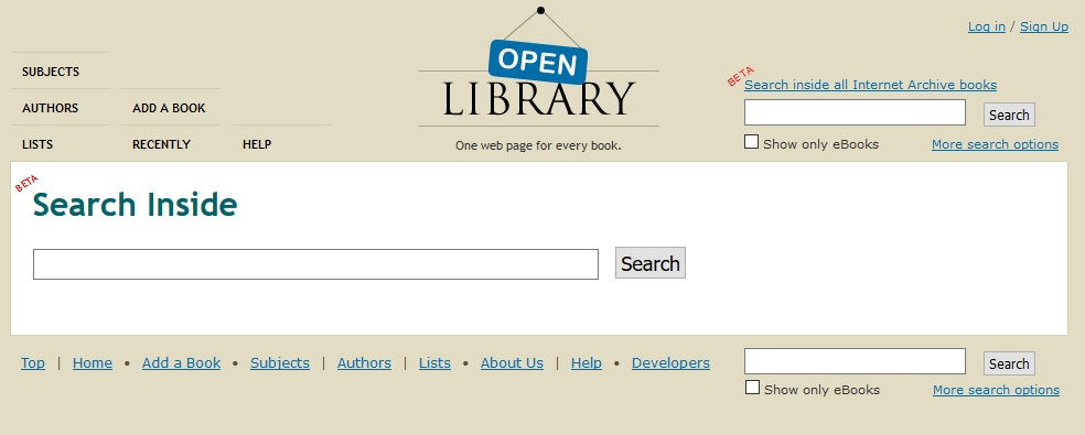 search inside open library