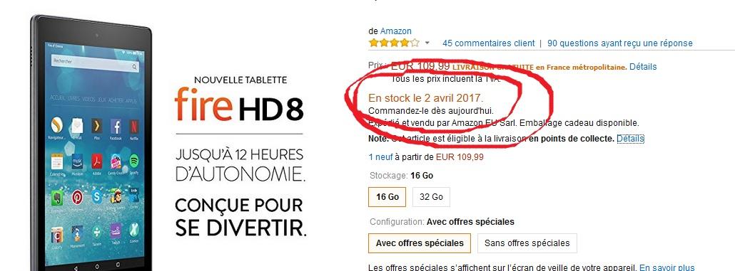 rupture de stock tablette fire HD8