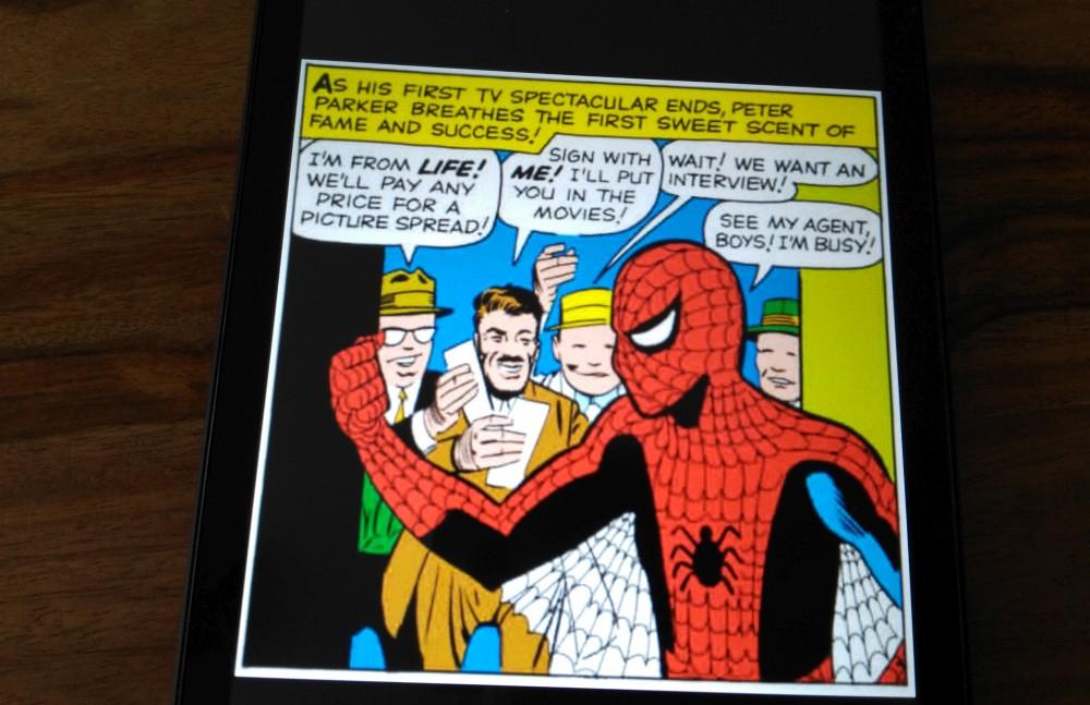 lecture d'une case de comics sur Fire HD 8