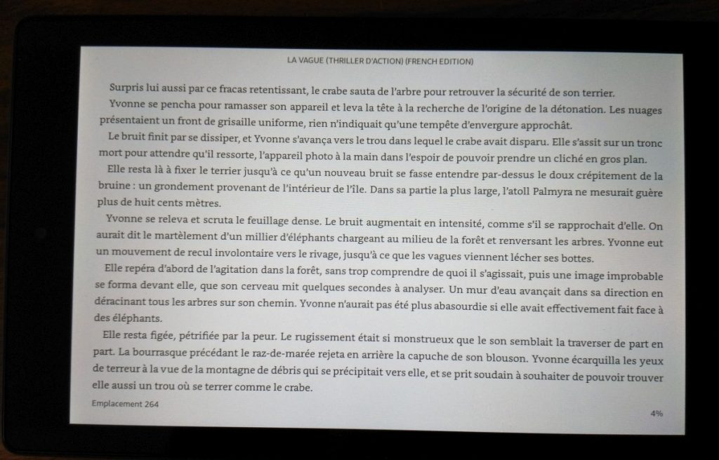 lecture d'ebook sur Fire HD 8