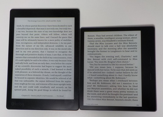 comparatif kindle oasis, kobo aura one