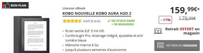 kobo aura H2O à 159€