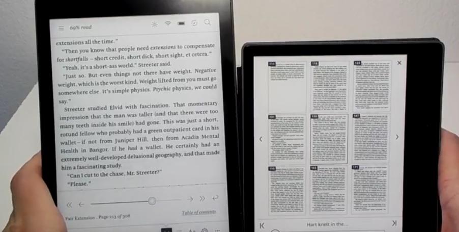 comparaison multi-page ebooks kobo aura one kindle oasis