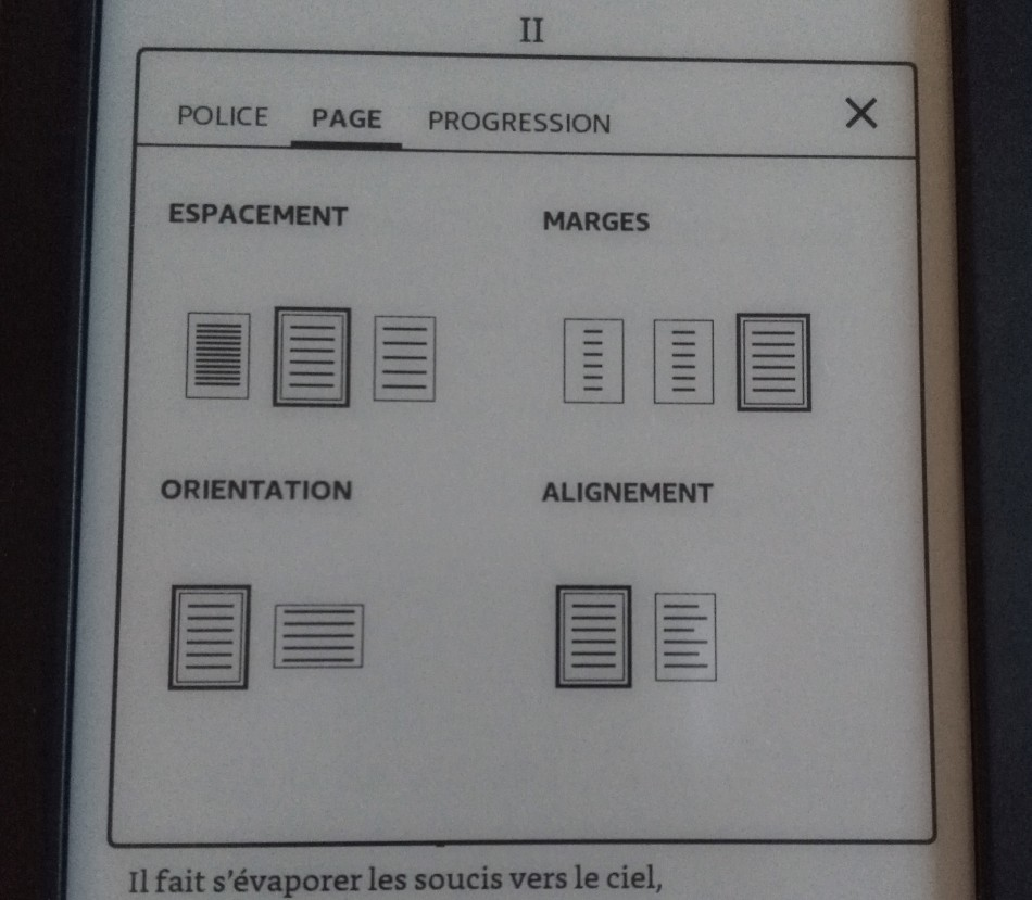 configuration page kindle