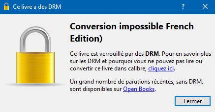 conversion calibre impossible