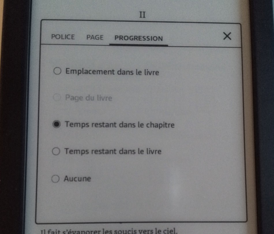 configuration progression kindle