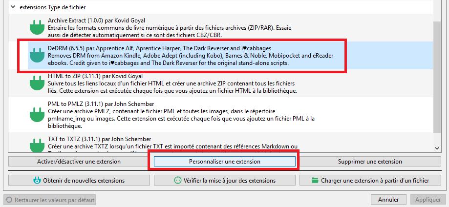 configurer plugin DeDRM Calibre