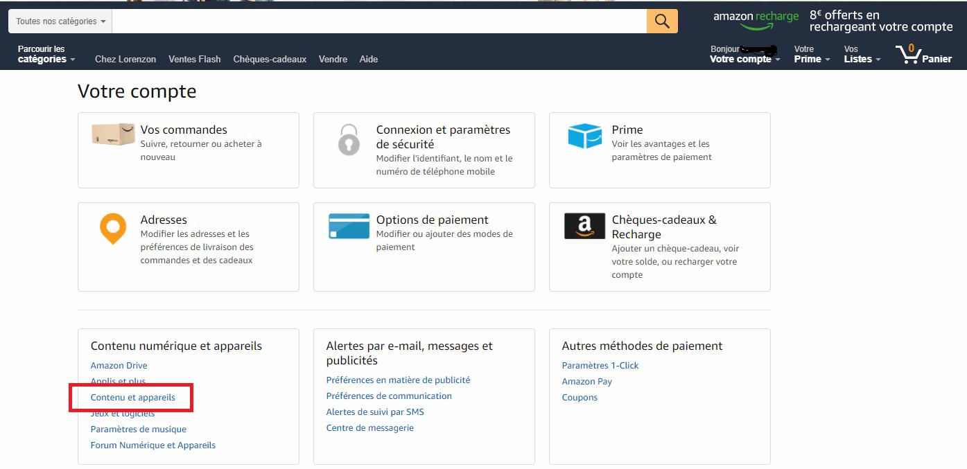 contenus et appareils gestion compte amazon
